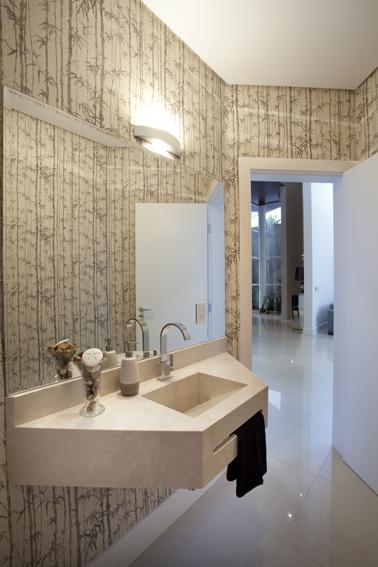 decoracao lavabo rustico : decoracao lavabo rustico:Lavabo de decoração clássica e elegante com papel de parede